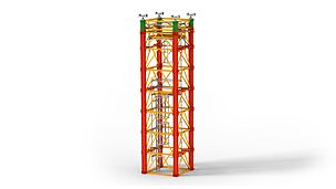 Shoring system for very large loads in bridge constructions as well as for special applications in industrial construction