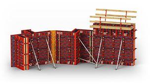 Cofraj ușor pentru pereți cu soluție inteligentă de cofrare a colțurilor.