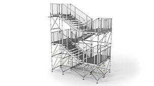 An jedem Podest 150 cm Breite kann die Richtung des Treppenlaufes um 90° oder 180° geändert werden. So entstehen gewinkelte Treppen z.B. als Zugänge zu Podien mit beidseitigen Auf- und Abgängen.
