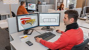 Gestellte Bauaufgaben werden durch 3D-Darstellungen und bewegte Bilder transparent, komplexe Schalungsabläufe durch Animationen verständlich, technische Lösungen mittels detaillierter Visualisierung nachvollziehbar und der gesamte Bauablauf über geplante 3D-Modelle virtuell demonstriert.