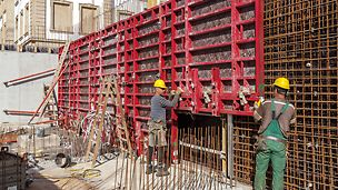 The innovative and tried-and-tested MAXIMO panel formwork has been adapted to accommodate the technology of single-sided anchoring and can be used very flexibly.