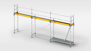 El andamio de bastidor, rápido y ligero para un trabajo seguro en fachadas.