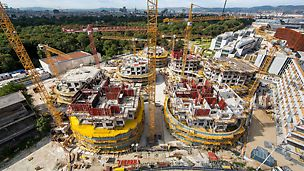Situated next to the famous Vienna Prater amusement park, seven distinctive and up to 33 m high residential towers are currently being realized.