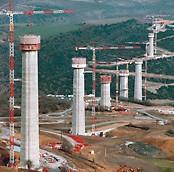 Viaduc de Millau, France - Longest cable-stayed bridge in the world under construction