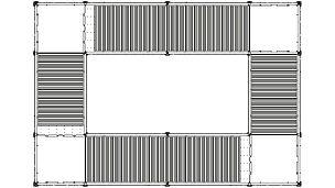 Treppenturm, der rund um ein Treppenauge gebaut ist. Die Grundrissmaße betragen 5,50 m x 8,00 m. In der längeren Richtung werden zwei Treppenläufe mit insgesamt 18 Stufen hintereinander angeordnet.