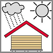 Lagerungs- und Transporthinweis in Form einer Illustration einer überdachten Lagerstätte für Schalungsplatten mit einer Sonne sowie einer Wolke mit Regen