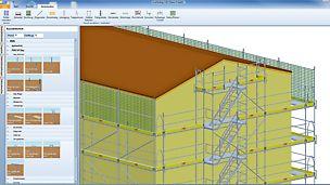 PERI UP Gerüst-Planungssoftware für jede Anforderung  - Darstellung eines PERI UP Easy Gerüstmodells in CP Scaffolding CAD 3D – eine unkomplizierte und übersichtliche Visualisierung des Gerüsts an der Fassade.