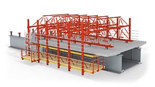 El carro de encofrado sobre la subestructura de acero para la construcción de la losa para la calzada.