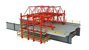 Formwork carriage used on the steel substructure for the construction of carriageway slabs