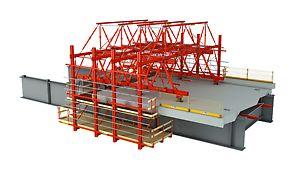 Auf der Stahlunterkonstruktion eingesetzter Schalwagen zur Herstellung von Fahrbahnplatten