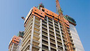 Budova Evropského tribunálu: Všechny práce při zhotovování kancelářských podlažích se efektivně prováděly v absolutním bezpečí za ochrannou vysouvanou stěnou RCS..