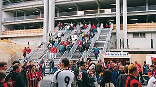 Bank of continuous staircases for the refurbishment of a football stadium. This bank of continuous staircases was needed for the football matches at weekends and was moved by crane to a storage area during the week to allow construction work to continue.