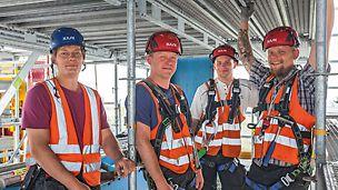 Gruppenbild von Bauleiter Thomas Berger und Team von B&S Gerüstbau GmbH, Dessau