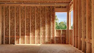 Im konstruktiven Holzbau werden überwiegend Rohsperrhölzer und OSB-Produkte verwendet.