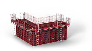 Systém konzol poskytující vysokou bezpečnost s malou námahou při montáži. Lehké systémové díly je možné smontovat manuálně na zemi.
