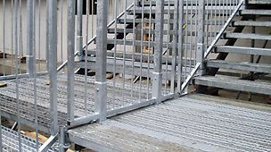 Due to the intermediate guardrails, the stairs and landings are safe to use, also with wide banks of continuous staircases.