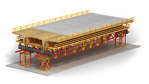 The easy to handle shoring construction kit for truss girders, shoring towers and pedestrian bridges
