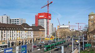 Baseli kesklinnas kadus kõrghoone ära väga nähtamatult ja toiminguid võis märgata ainult vahetus läheduses. (Foto: PERI GmbH)