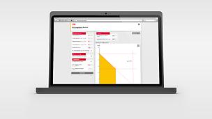 Zobrazení uživatelské plochy pomůcky zatížitelnosti bednění PERI na Laptop, Smartphone a Tabletu