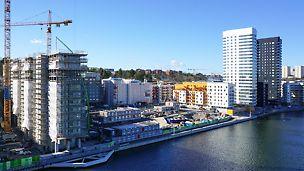 På ett av Liljeholmskajens bästa läge byggs det 16 våningar höga Brohuset.