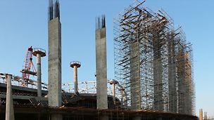 Строительные леса, строительство стадиона, чм по футболу 2018, строительство колонн, монолитные колонны
