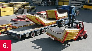 Vorschriftsmäßige Verladung der Sonderschalungen und sicherer Transport zur Baustelle.