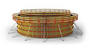 Ekonomiczne formowanie budowli okrągłych bez konieczności stosowania ściągów dla wszystkich promieni