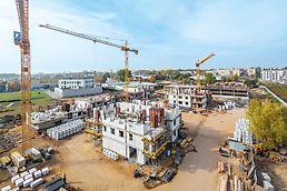 Uniwersalność systemów PERI gwarantuje ergonomiczną realizację również przy budynkach mieszkalnych.