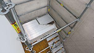 PERI UP Flex Treppe Alu 75: Kurze Treppenläufe mit 75 cm Breite bieten auch für kleine Räume und enge Geometrien maximale Anpassungsfähigkeit.