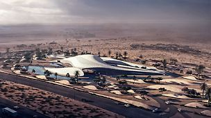 The new headquarters of the environmental company Bee'ah is currently being realized according to the plans of the famous architect Zaha Hadid. The design of the futuristic building with its complex structure is based on the shape of a sand dune. (Source: www.zaha-hadid.com)