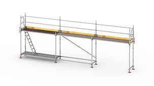 Könnyű és gyorsan szerelhető homlokzati állványrendszer biztonságos munkavégzéshez.