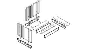 Ausbildung eines Podestes für einen Treppenwinkel von 90°.