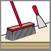 Illustration von Besen und Spachtel auf Schalungsplatten, als Beispiel für Reinigungsutensilien für das Säubern der Betonschalungsplatten nach dem Schalungseinsatz.