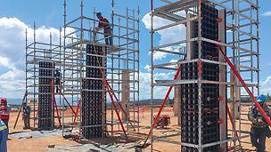 Ved bruk av et minimum antall systemkomponenter kan vegger, fundamenter, søyler og dekkeforskaling effektivt forskales. PERI forskaling domino Trio Quatro søyle panel dekke vegg