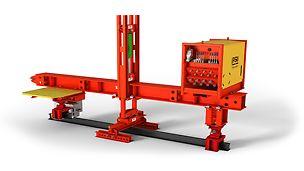 Possibilité de déplacement du portique de coffrage pour tunnel de manière hydraulique ou électrique pour des processus de montage économique.
