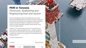 Screenshot PERI Tansania Website - PERI provides Formwork, Scaffolding, Engineering