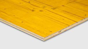 PERI´s tradisjonelle formplate OSB finer finèr kryssfiner plate tre panel PERI spon forskalingsfiner prefab industri