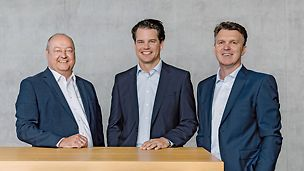 The Group Management of PERI GmbH: Leonhard Braig (Production & Supply Chain), Dr. Fabian Kracht (Finance & Organization, Spokesman of the Board), Carl Heathcote (Sales & Engineering)