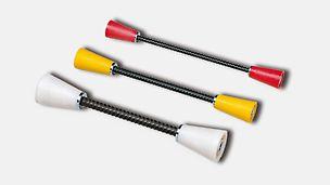 Das System SK besteht aus 2 wiederverwendbaren SK Ankerkonen und 3 Ankerstäben, wovon der mittlere einbetoniert werden kann (z.B. bei Sicherheitstrakten und Strahlungsbauten).