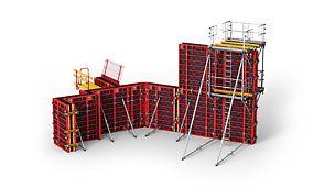 TRIO ist ein kranbares Schalungssystem mit beidseitig bedienbarer DW-Ankertechnik. Es ist stehend oder liegend einsetzbar und wird schwerpunktmäßig im Hoch- bzw. Industriebau verwendet.