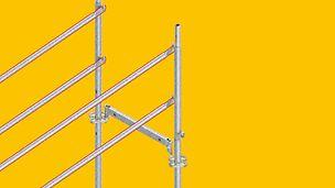 Bei Bedarf kann bei PERI UP der vorlaufende Seitenschutz auch in der modularen Bauweise mit dem Easy-Stiel realisiert werden, was sowohl bei flächigen als auch bei stark gegliederten Fassaden und selbst für die offenen Fassaden bei Scheiben- und Skelettbauweisen ein großer Vorteil ist.