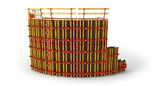 Continuously adjustable circular formwork for radii greater than 1.00m without panel alterations