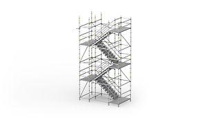 Ocelové schodiště PERI UP 100 / 125: Schodiště pro vysoké požadavky na únosnost a schůdnost.