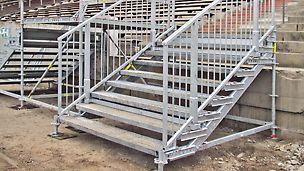 PERI UP Public lässt sich auch für geringe Höhen ab 150 cm verwenden. Die Breite ist zwischen 150 cm, 200 cm und 250 cm wählbar, die Tiefe beträgt 250 cm.
