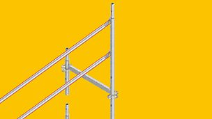 Der systemintegrierte vorlaufende Seitenschutz lässt sich im Regelaufbau nicht nur mit dem PERI UP Easy-Rahmen ausführen.
