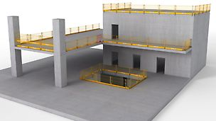El sistema de seguridad para una protección lateral temporaria contra caídas