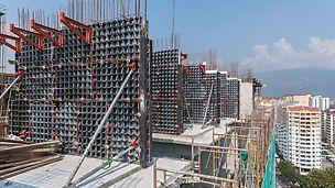 Toepassing van de horizontale en verticale bekisting van PERI DUO bij het bouwen van een residentie in Aspen.