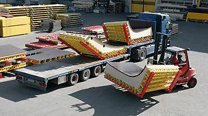 Vorschriftsmäßige Verladung und sicherer Transport zur Baustelle.