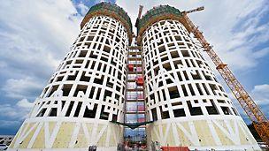 """Las Torres de Hércules, Los Barrios, Spanien  - Über die gesamte Höhe hinweg symbolisieren überdimensionale, in die Betonfassade integrierte Buchstaben den Schriftzug """"Non plus ultra""""."""