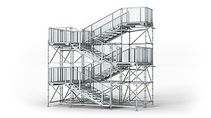 PERI UP Public s oceľovými podlahami 150, 200, 250: Geometria schodov a plošín je navrhnutá tak, aby spĺňala požiadavky pre verejné priestranstvá.